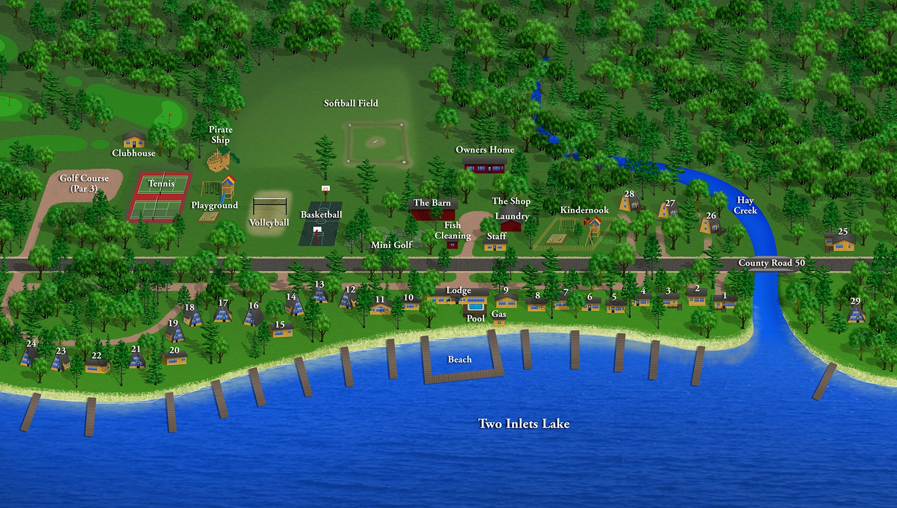 Brookside Resort grounds layout